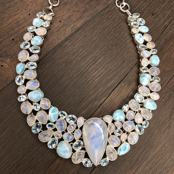 Rainbow moonstone, larimar and blue topaz necklace