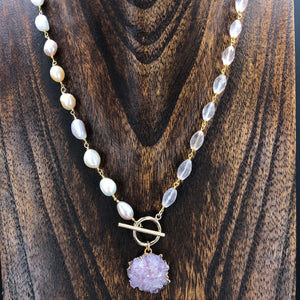 Wrap and toggle pearl and rose quartz necklace