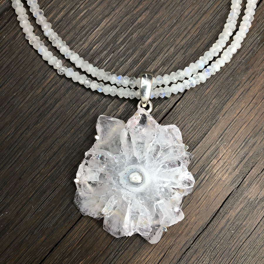 Rainbow moonstone and quartz stalactite slice necklace