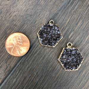 Mother/daughter/bff matching druzy necklace set - gold