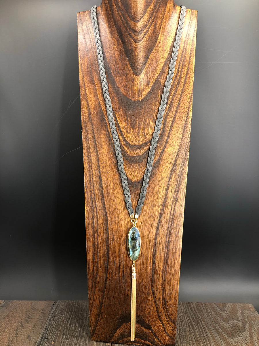Gray braided leather with labradorite accent necklace