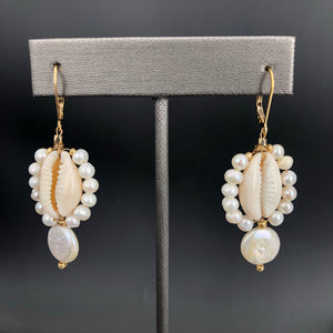 Freshwater pearl and cowry shell drop earring