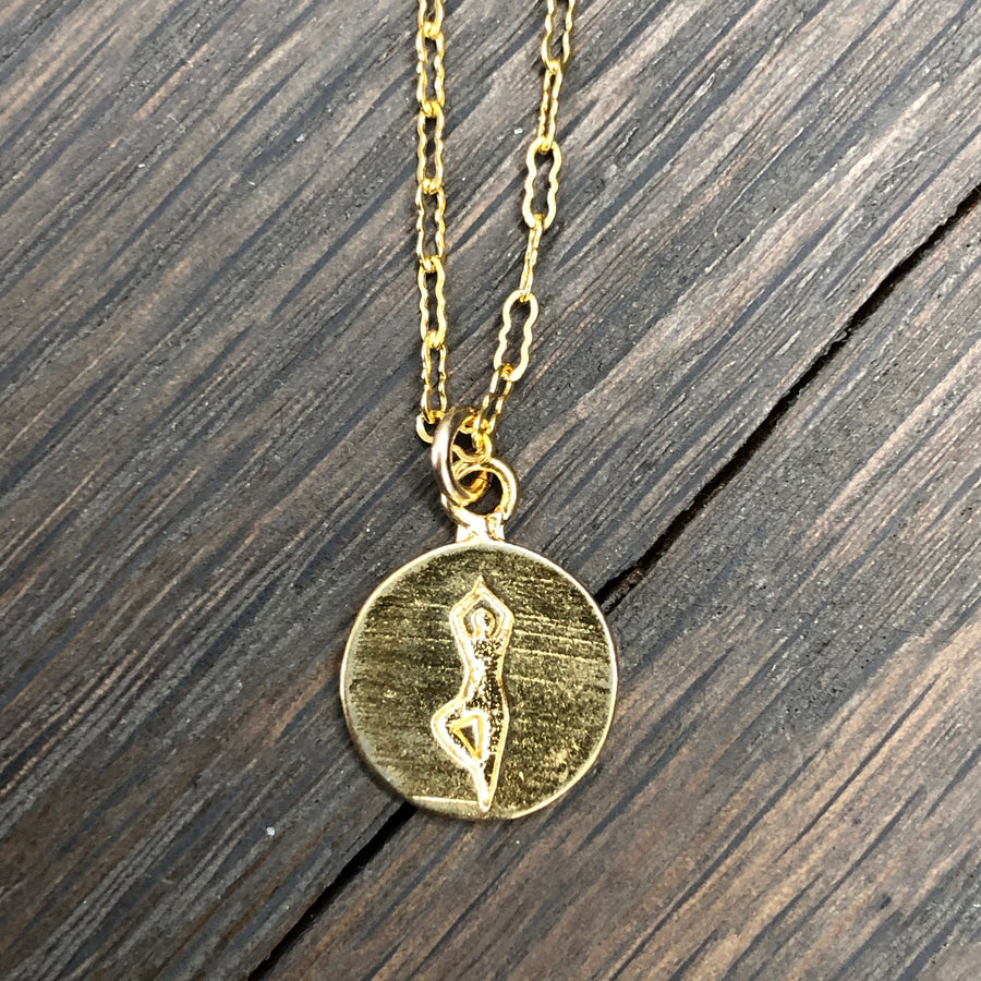Tiny tree pose yoga coin necklace