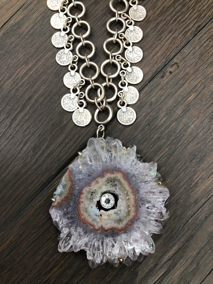 Amethyst stalactite slice on coin chain necklace
