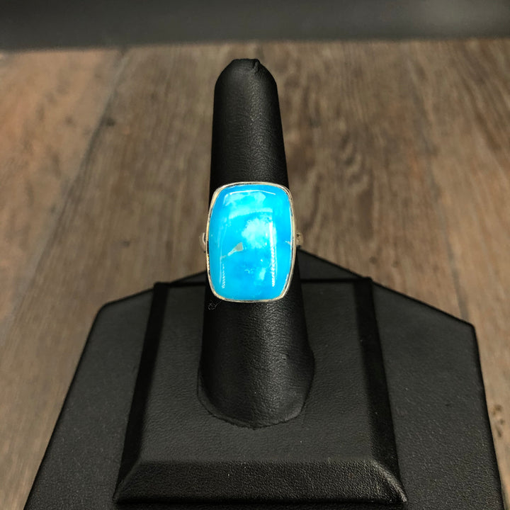 Fully adjustable turquoise ring -  sterling silver