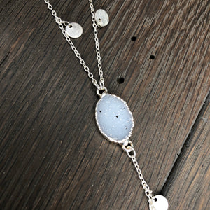 Dangle coin lariat with druzy accent - silver or gold