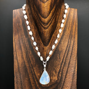 Rainbow moonstone nugget chain and drop necklace