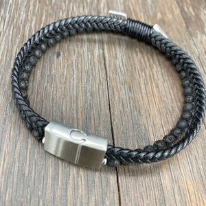 Lava bead and vegan leather arrow double strand bracelet - brushed silver