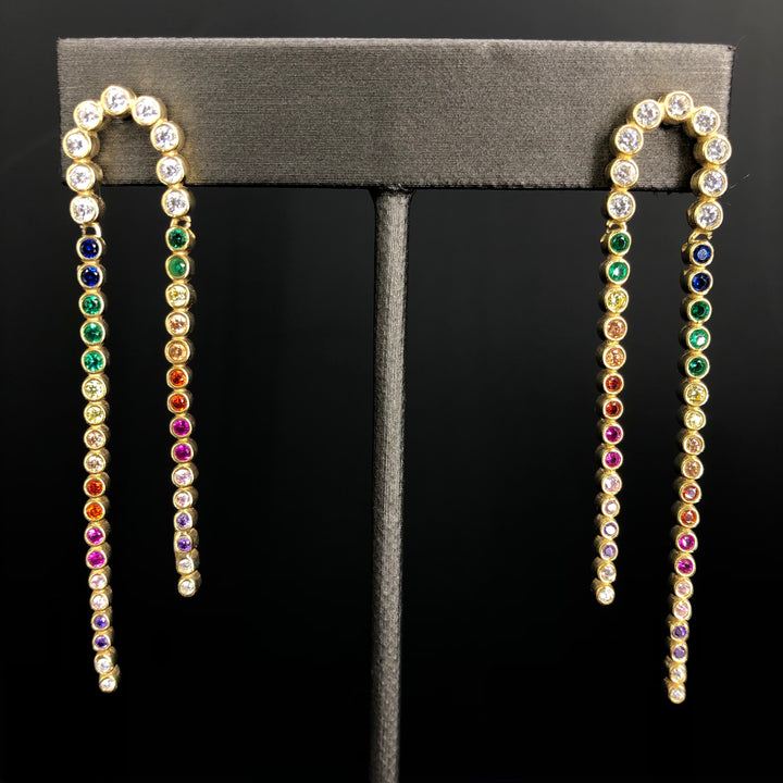 Tiny bezel rainbow cz curve drop earring- gold vermeil