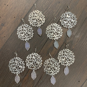 Butterfly disc with diamond shaped druzy drop earrings - silver