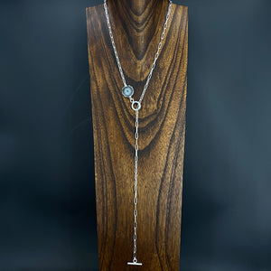 Toggle lariat with jasper stalactite slice accent - silver