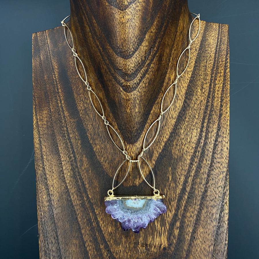 Amethyst/jasper stalactite half metal marquis necklace - gold