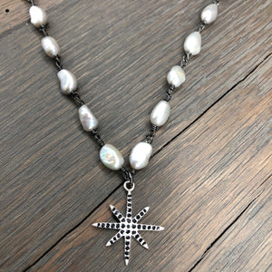 Freshwater pearl and pavé black cz necklace - gunmetal