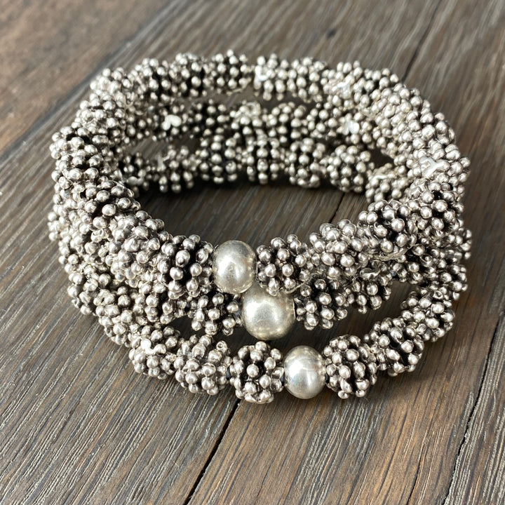 Dot bead ball bracelet set - antique silver