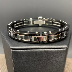 Nailhead accent hinged bangle bracelet - gloss black and chrome