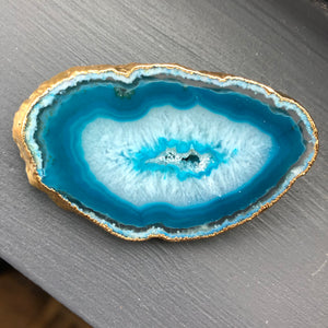 Agate slice brooch with metal trim - Click for multiple color options