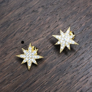 Pavé cz star stud earrings - sterling, rose gold, yellow gold
