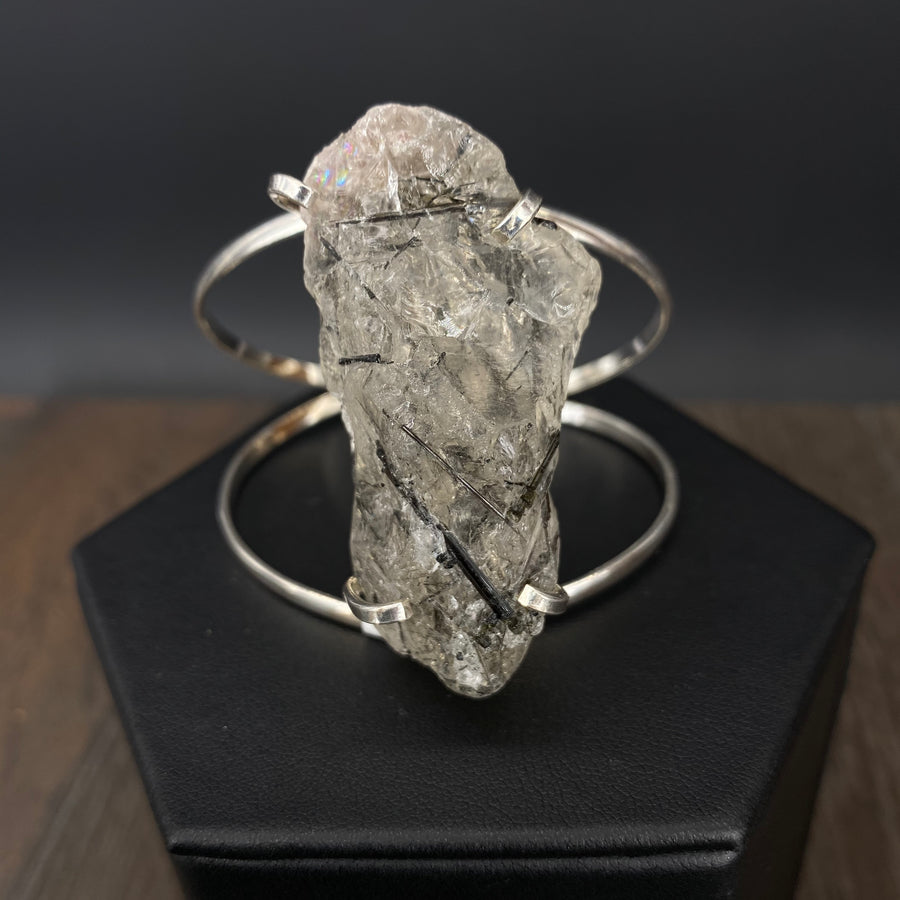 Tourmalated quartz cluster cuff bracelet - silver