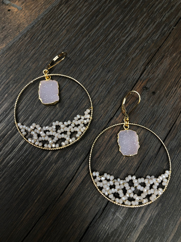 "Light Pink ""Ocean Wave"" beaded hoop earrings"