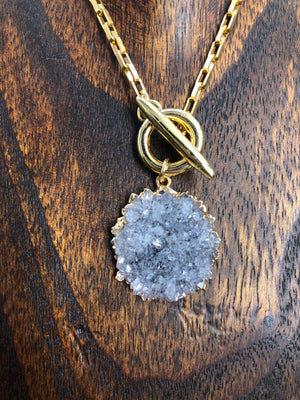 Gray amethyst rose toggle necklace -  please see new stone options