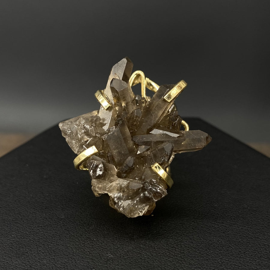 Smoky quartz cluster ring - gold