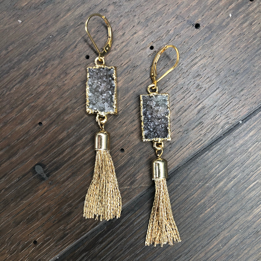 Tassel earrings with druzy drops -gold