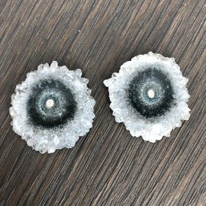 Amethyst and jasper stalactite slice flower stud earrings