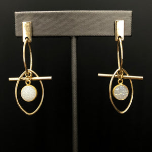 Sculptural, geometric earrings with druzy accent - silver, gold, rose gold