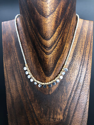 Hammered coin and seed bead necklace