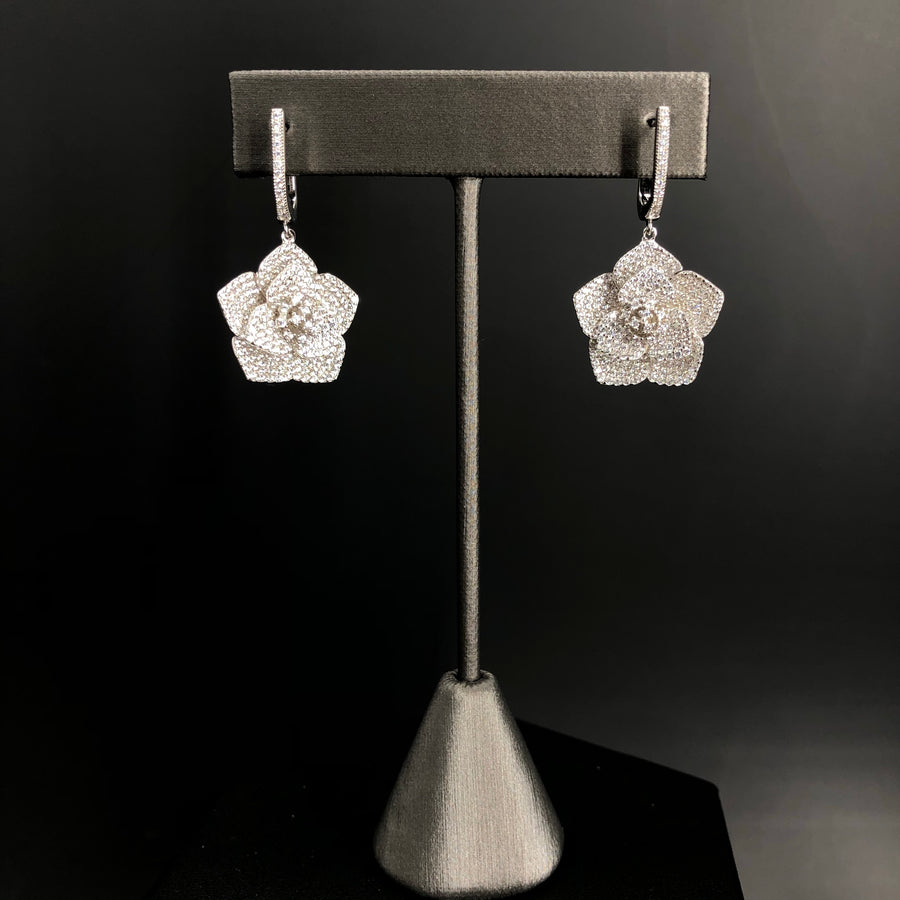 Pavé cz 3D pansy earrings