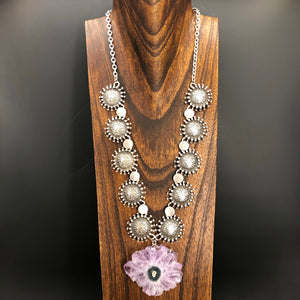 Amethyst stalactite slice flower statement necklace