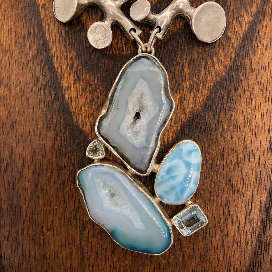 Larimar, agate, blue topaz statement necklace