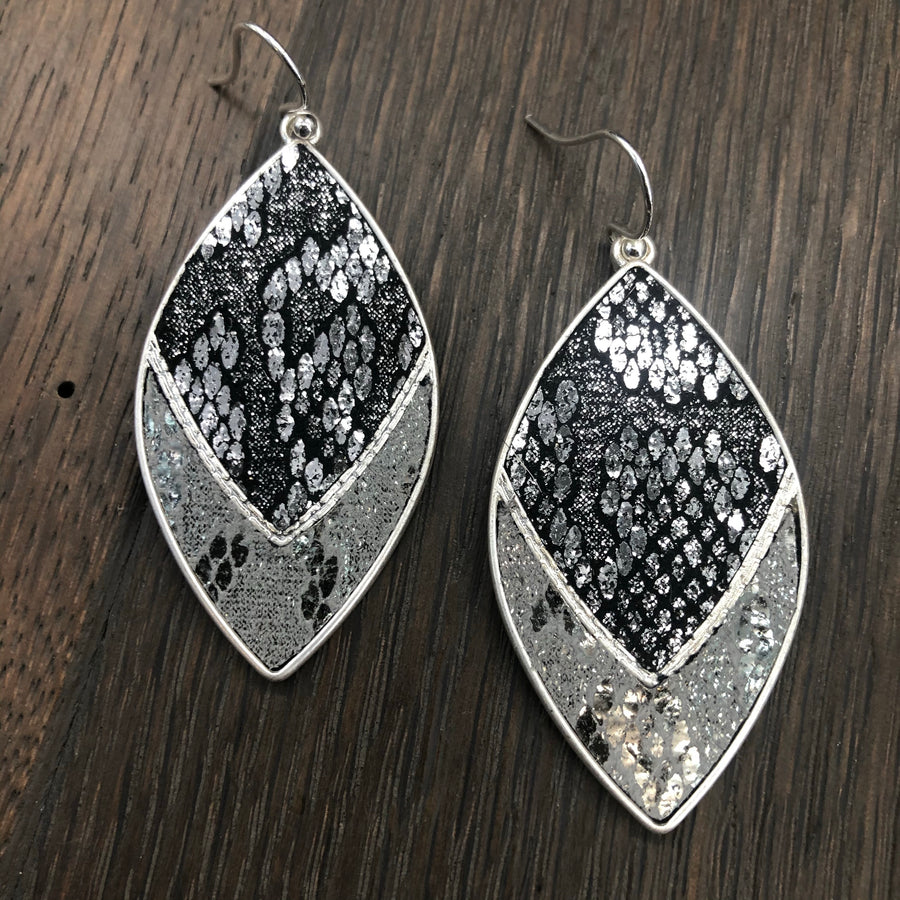 Metallic vegan leather snakeskin earrings