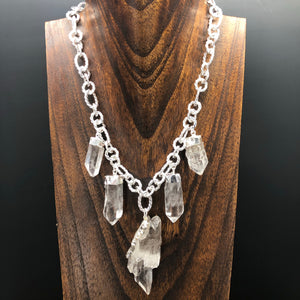 Quartz cluster statement necklace - silver