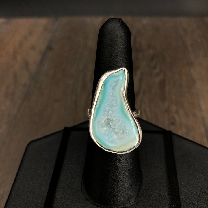 Druzy centered agate slice ring adjustable