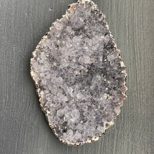 Large free form druzy pendant - antique silver
