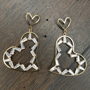 Baguette cz accented heart earrings - silver and gold