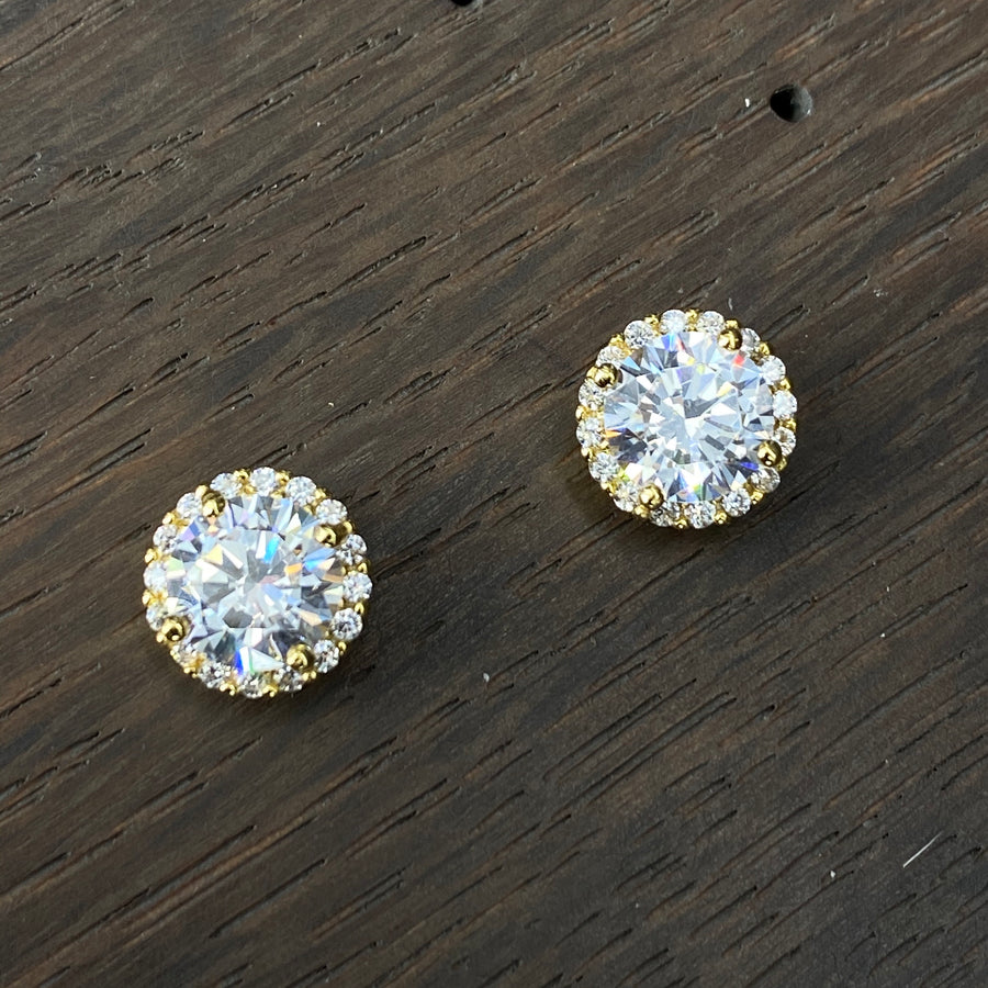 Brilliant cz halo stud earrings - silver, gold, rose gold