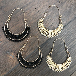 Woven seed bead hoop earrings