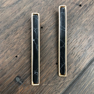 PRE ORDER - Bar earrings with stone inserts - gold