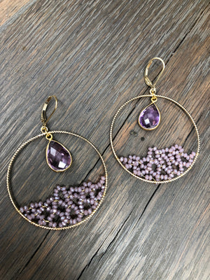 "Purple ""Ocean Wave"" beaded hoop earrings"