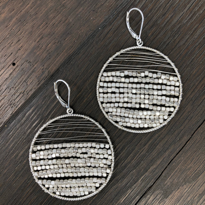 Pebble Collection matte silver beaded disc earrings
