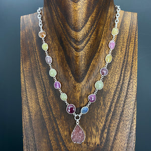 Corundum sapphire and ruby with druzy necklace - silver