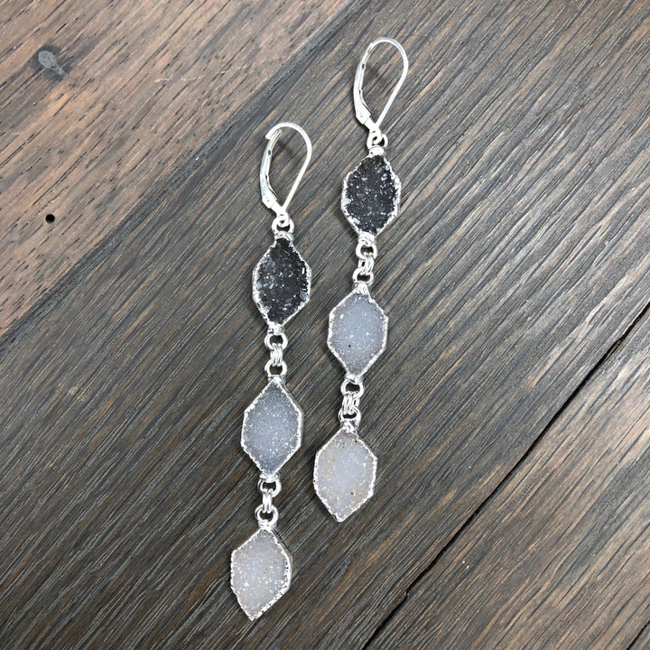 Triple druzy diamond shaped drop earrings - silver