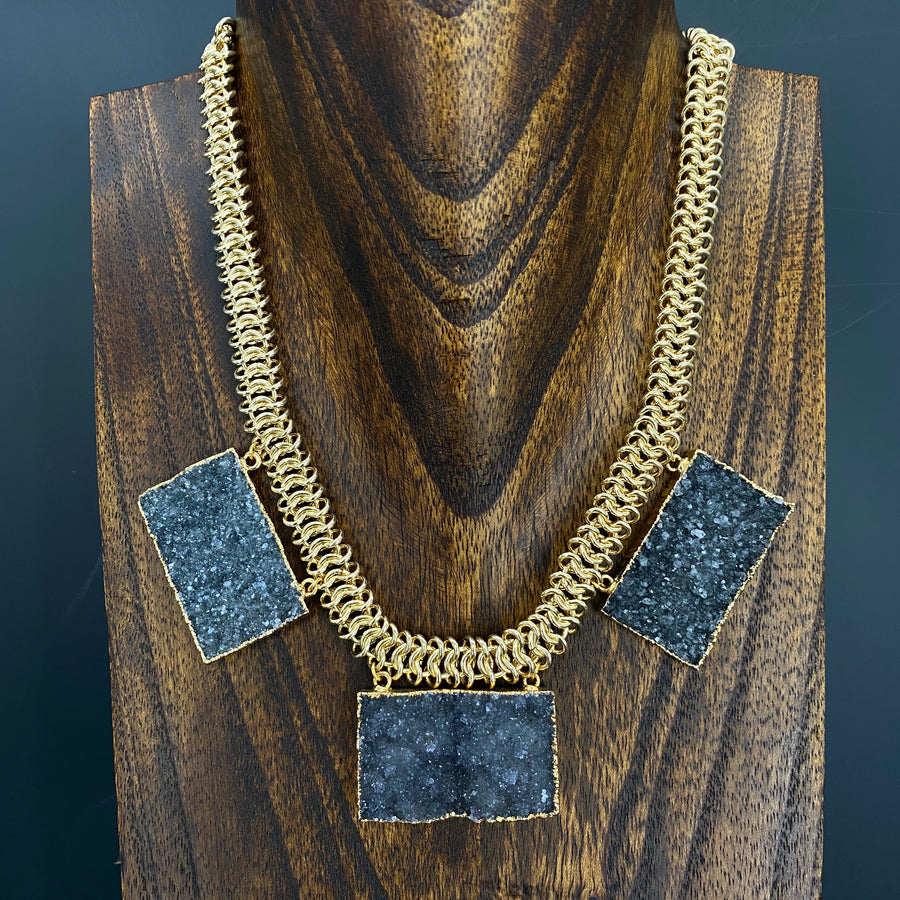 Triple druzy bar necklace - gold