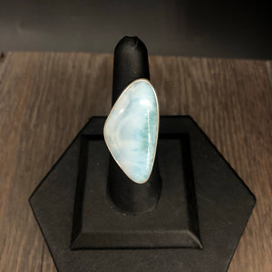 Larimar stone ring in sterling silver - adjustable sizing
