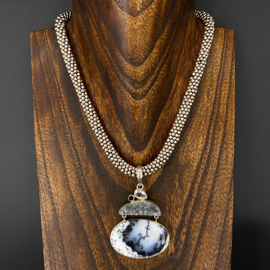 """Aspen Snowdrift"" Dendritic Opal, druzy necklace - antique silver"