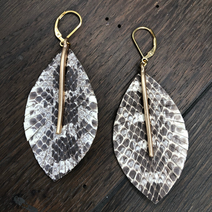 Leather leaf, bar faux snakeskin earring - gold
