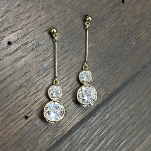 Double cz dangle earring- silver, gold