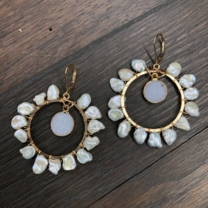 Freshwater keshi pearl hoop earrings with druzy drops